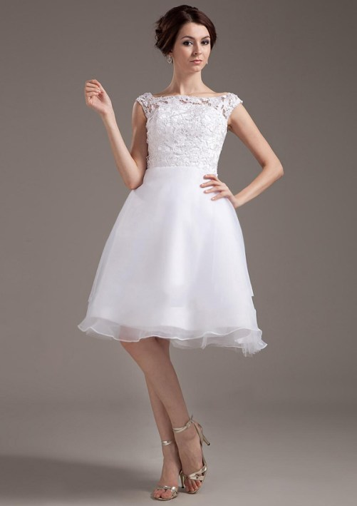short white country wedding dress with cap sleeves