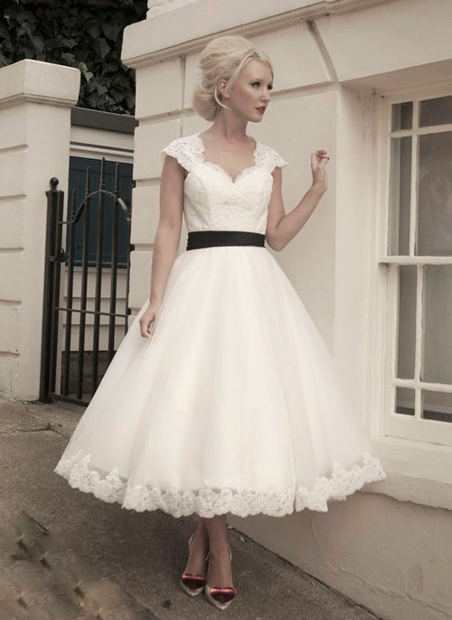 50s inspired knee length wedding dress