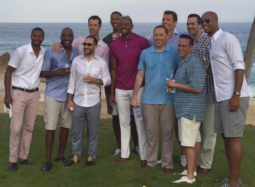 andre iguodala wedding photo with friends