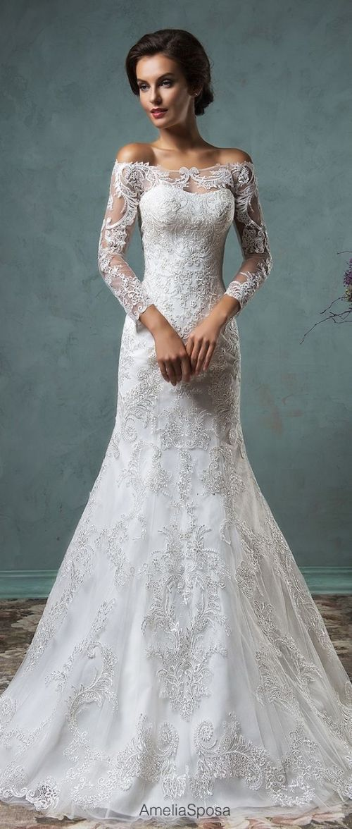 lace off the shoulder wedding dress