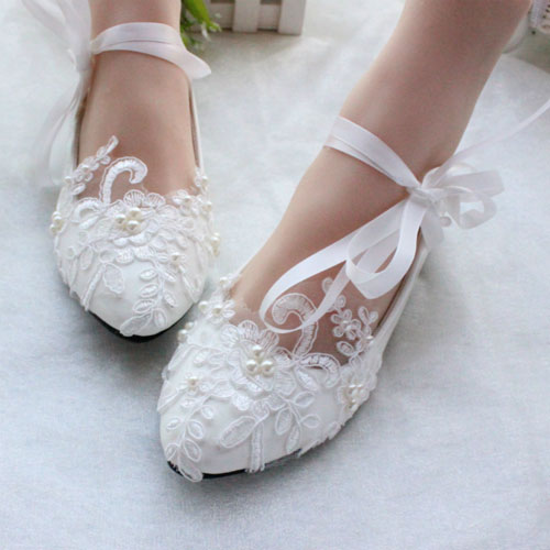 white lace ballerina shoes