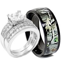 camo silver wedding ring set his and hers | Sang Maestro