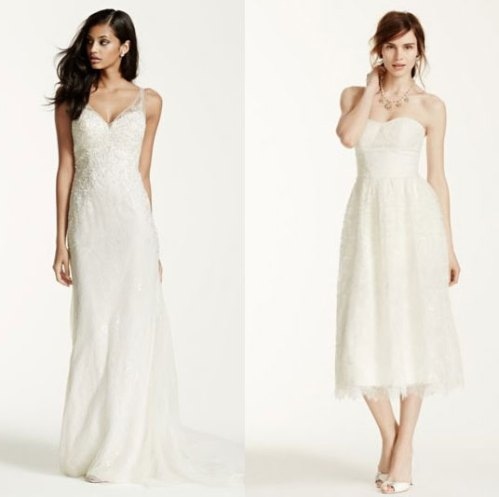 david's bridal knee length v-neck beach wedding dresses