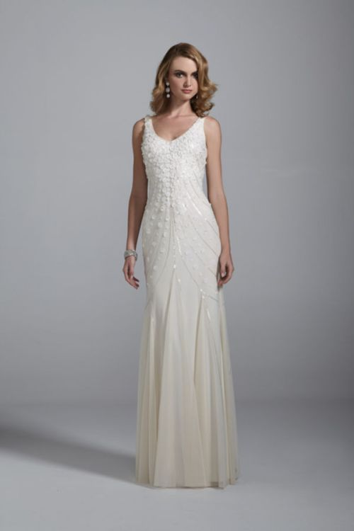 david's bridal sleeveless beach wedding dress