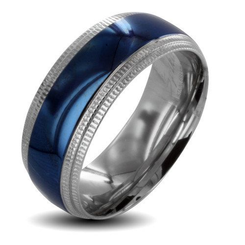 men's blue titanium spinner wedding band