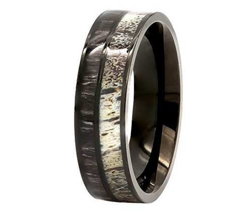 mens deer antler black koa wood stainless steel wedding band