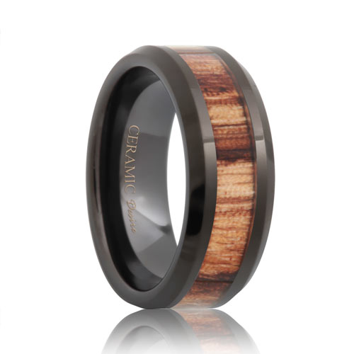 men's wood grain black ceramic wedding band