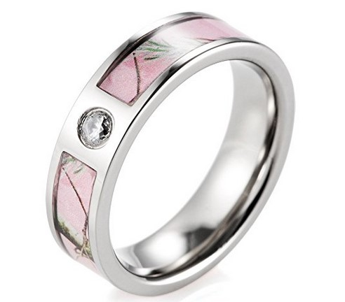 pink camo titanium wedding ring with stone