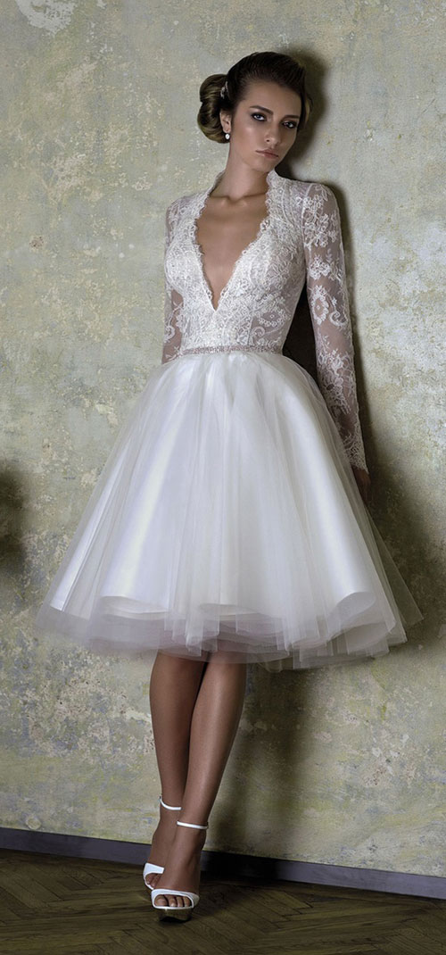 short funky vintage wedding dress with lace