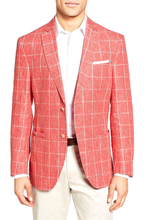 men beach wedding attire with red suit
