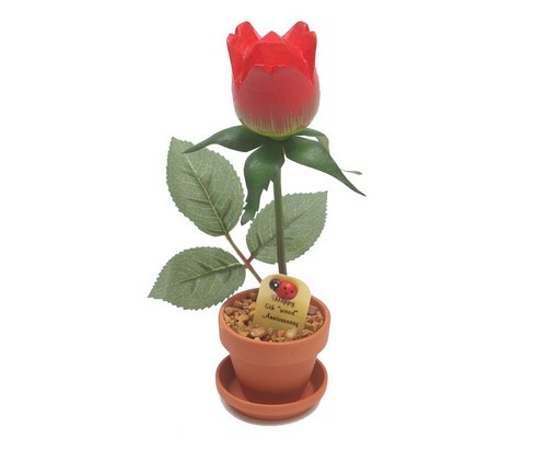 potted wood paper rose