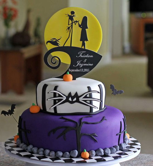 jack and sally black and white wedding cake
