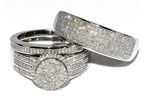 wedding ring sets for him and her white gold