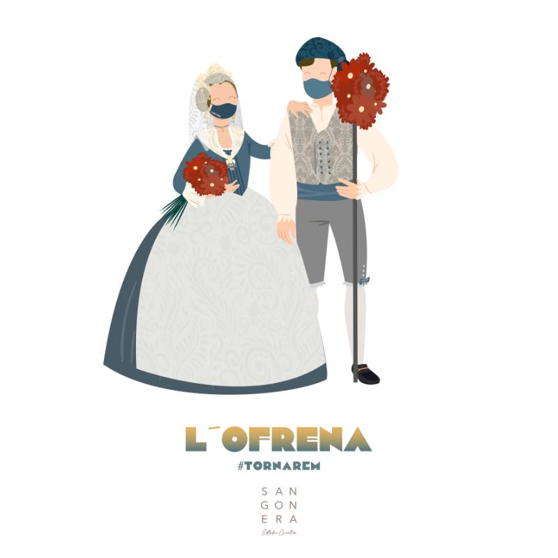 Ilustración Falleros Personalizada, L'ofrena, tornarem, Sangonera Design