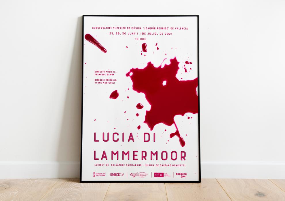 Cartel de opera enmarcado, Lucia di Lammermoor, Conservatorio Superior Joaquín Rodrigo de Valencia, Sangonera Design