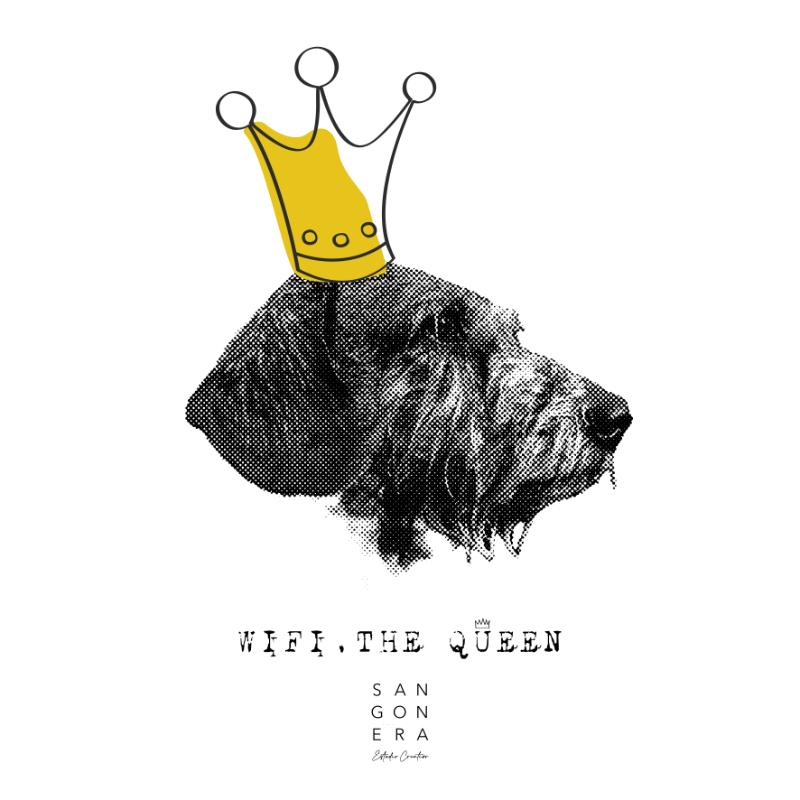 Retrato Digital perro, corona, Wifi The Queen, Sangonera Design, Teckel, Perro Salchicha