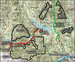 wilderness map peaks four area superstition arizona tonto trail apache maps national salome monument park areas junction historic history related