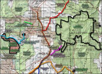 map scenic fe santa pecos byway forest national wilderness area mexico puye cliffs maps hyde road park state memorial sangres