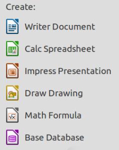 Daftar aplikasi yang terdapat di LibreOffice