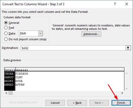 Cara Memisahkan Data di Excel Menjadi Beberapa Kolom
