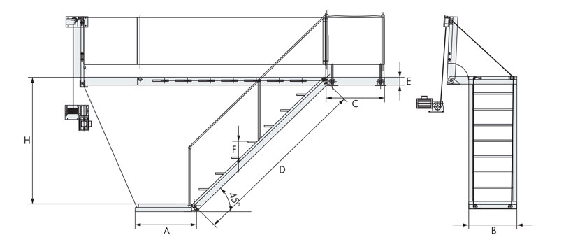 Sanguineti Chiavari's electric boarding ladders
