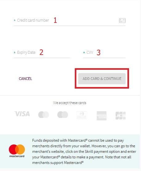 Điền thông tin thẻ Visa/Master của bạn