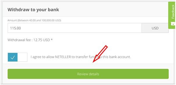 Nhập số tiền bạn muốn rút từ ví điện tử Neteller