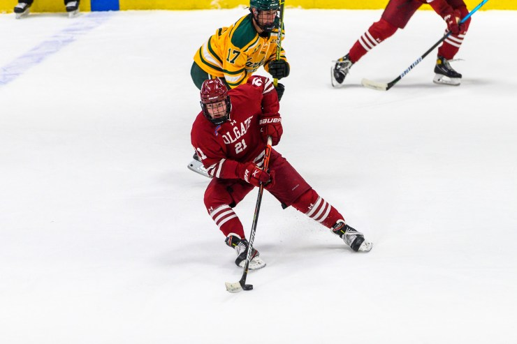Alex Young, San Jose Sharks Draft Pick, Carries the puck for Colgate University Raiders