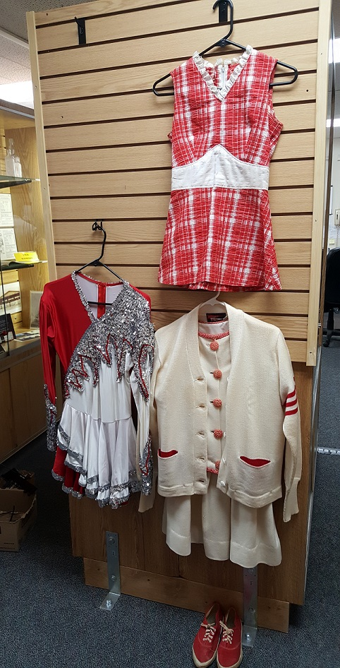 San Juan High School Drill Team Outfits, Letterman Sweater and Shoes