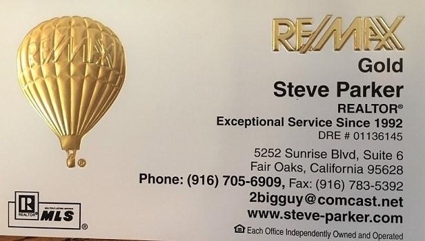 Steve Parker Realtor with ReMax Gold Fair Oaks California