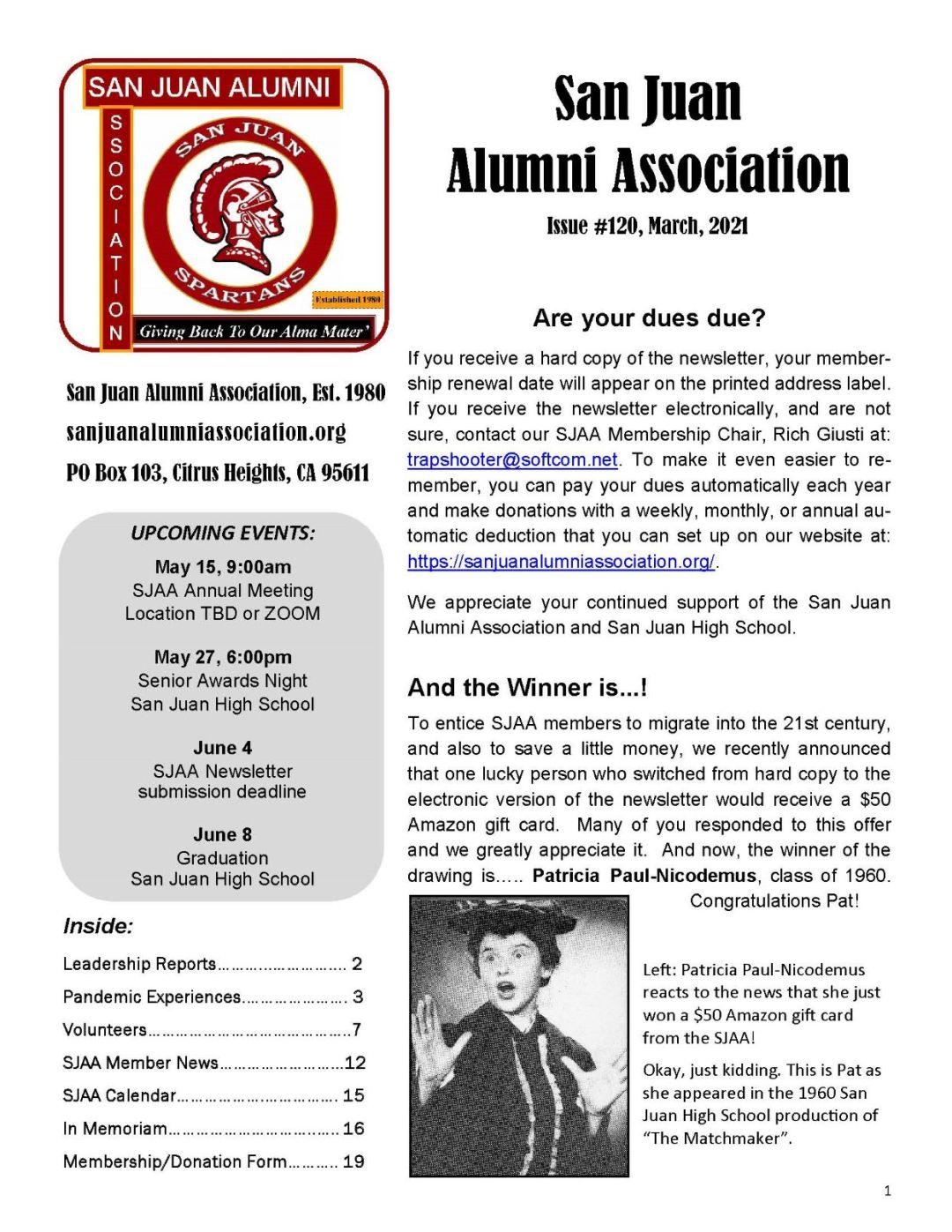 SJAA e-Newsletter Cover