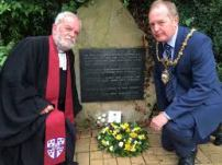 WBM with the Mayor at Warrington's WW2 bombing Memorial