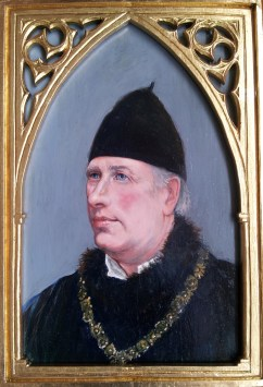 Portrait of Paul Mason, founder of Lord Burghs Retinue (www.lordburghsretinue.co.uk), painted in oil on gessoed oak panel in the style of late 15´th cent, by Anne Gyrite Schütt. Handcrafted gothicstyle guilded frame by Tim Lambon.
