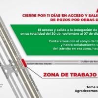 Por obras de Red Metro, se cerrará desde el lunes acceso y salida a Villa de Pozos