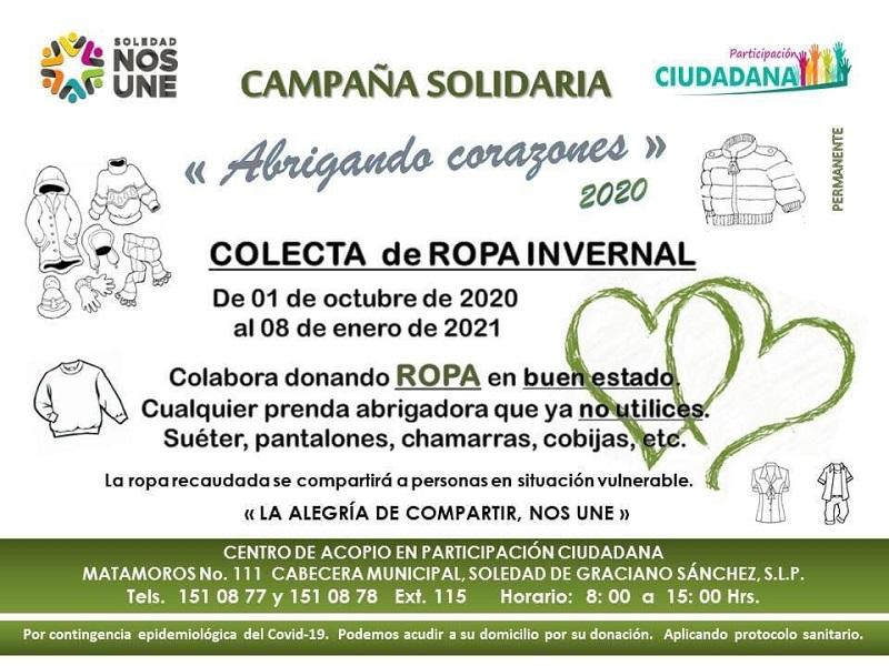 """Participación Ciudadana de Soledad, invita al programa """"Abrigando Corazones"""""""