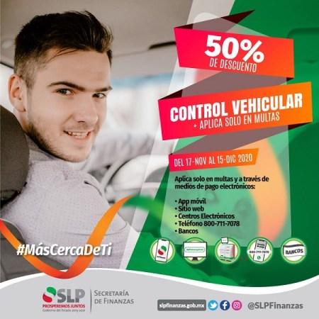 50 % de descuento en multas de control vehicular