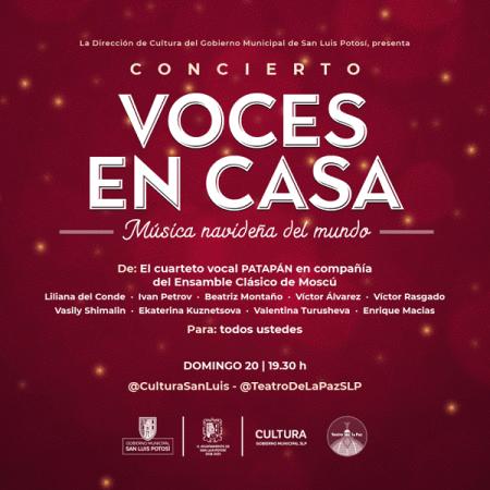Cultura Municipal invita a disfrutar del concierto voces en casa: Música navideña del mundo