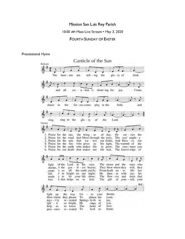 Music for 10 am (English) Mass, Sunday, May 3, 2020