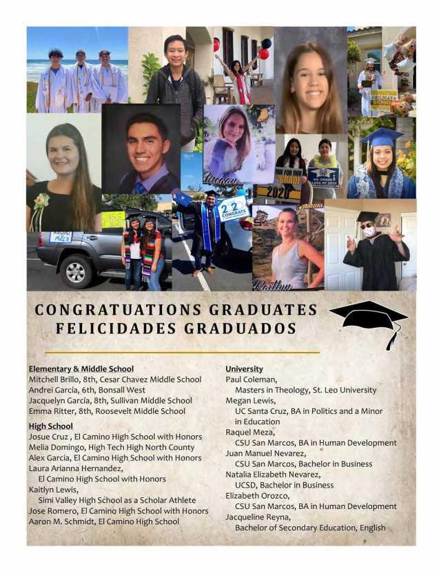 Congratulations to our parish Graduates!