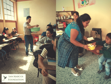 Distributing eggs during the first week of school 2018.