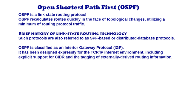 Open Shortest Path First ( OSPF )