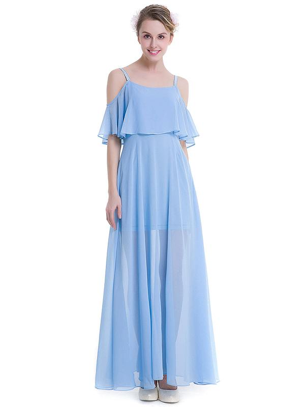 LaceShe Women's Chiffon Off Shoulder Evening Bridesmaid Dress