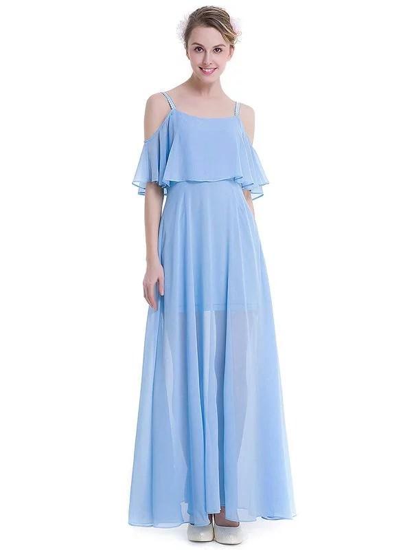 LaceShe Women's Chiffon Off Shoulder Evening Bridesmaid Dress