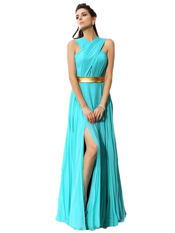 LaceShe Women's Flattering Chiffon Split Bridesmaid Dress