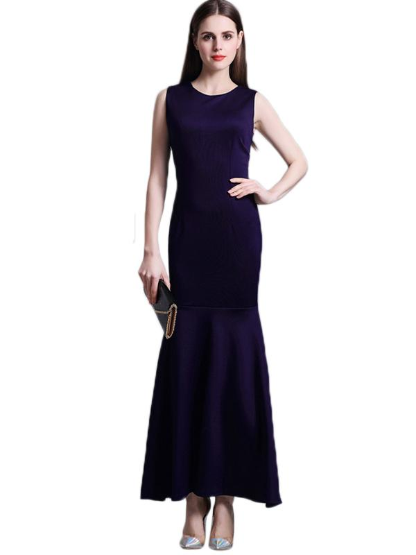 LaceShe Women's Sleeveless Long Mermaid Bridesmaid Dress