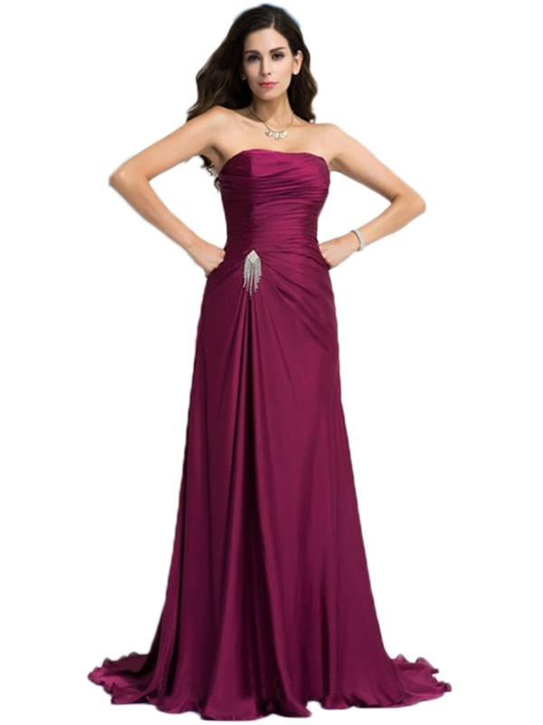 LaceShe Women's Strapless Floor Length Bridesmaid Dress