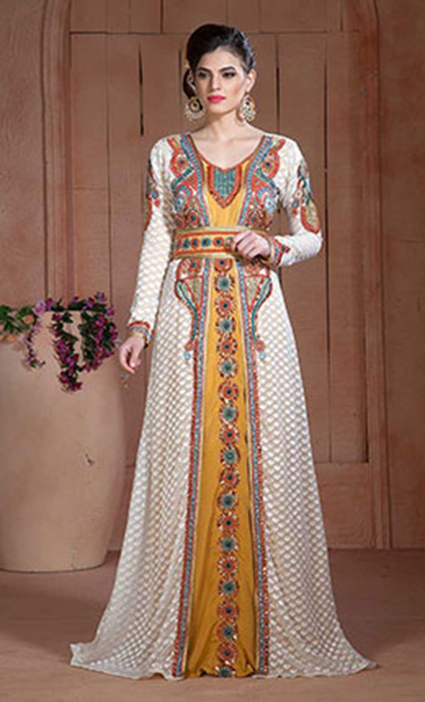 Off White and Golden Color Moroccan Hand beaded Kaftan