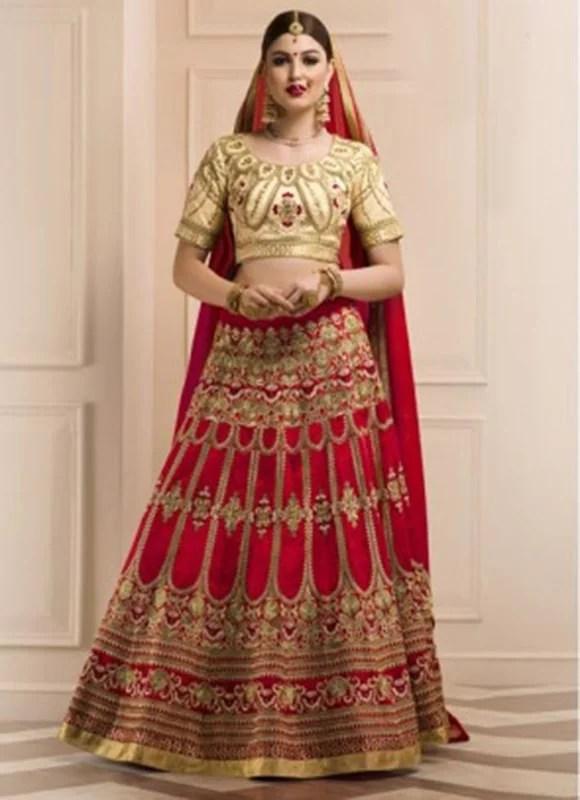 Red Heavy Work Bridal Lehenga