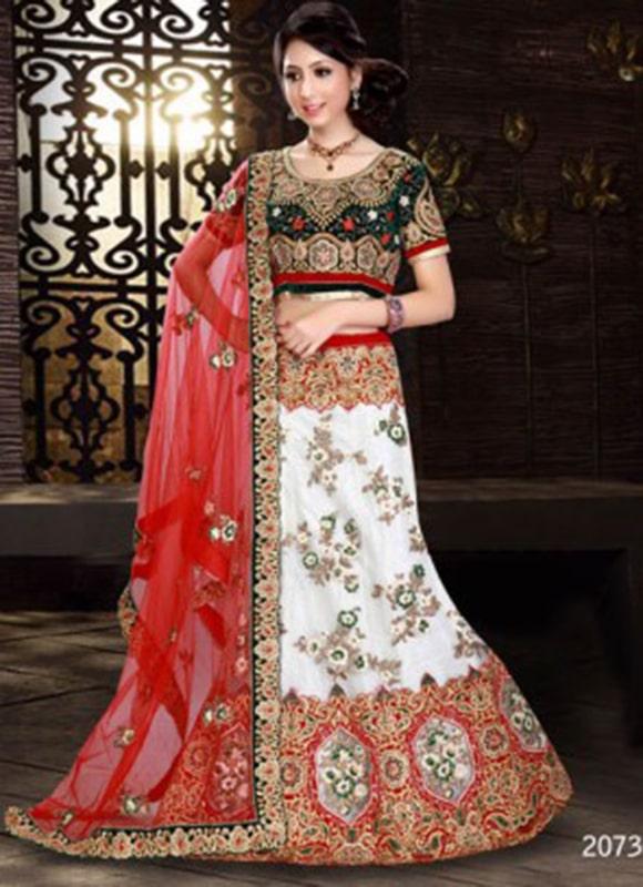 White And Red Bridal Lehenga Choli