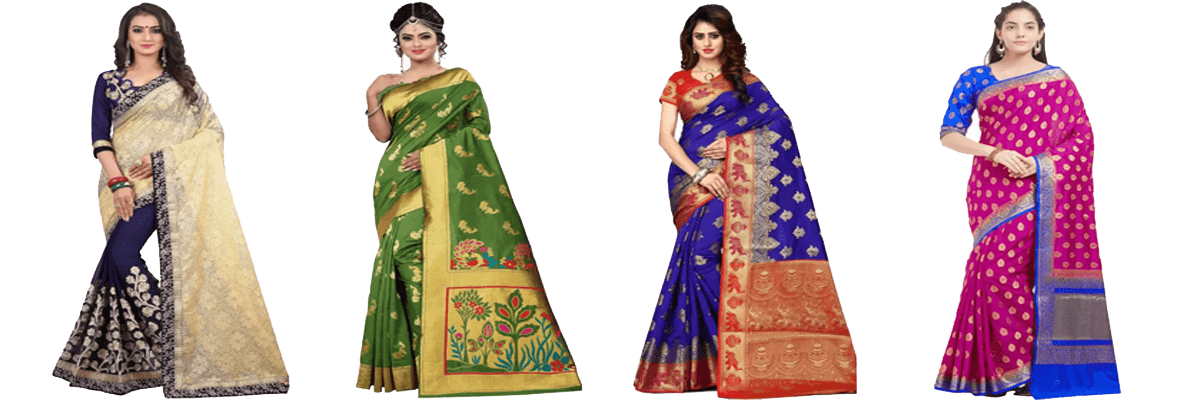 Embroidered Banaras Silk Paithani Sarees  For Party and Weddings